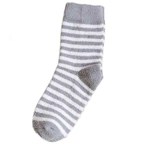 Frauen warme Socken Frauen gestreifte Kolylong® Socken und Korallen Kaschmir Socken Frau angenehm weiche Socken (Grau) (Turnschuhe Knie-hohe)