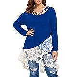Yvelands Mode Damen Tops beiläufige Spitze Ordnungs Layered T-Shirt O Ansatz T Spitzen Hemd Ring Bluse Sweatshirt
