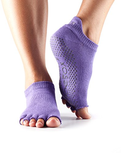 Toesox Half Toe Low Rise Grip Socks For Yoga, Pilates, Fitness Non Slip Skid Socks - 1 PAIR