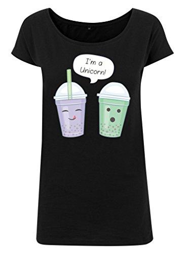 Ladies Damen Wideneck Tee T-Shirt Sommertop Shirt Einhorn Becher Drink Trink Smoothie I'm a Unicorn Schwarz