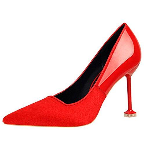 Tacco Toe Chiusura Scarpe Senza Pelliccia Rosso Spillo Pointed a Col Mashiaoyi Donna Tacco q6Ewzt