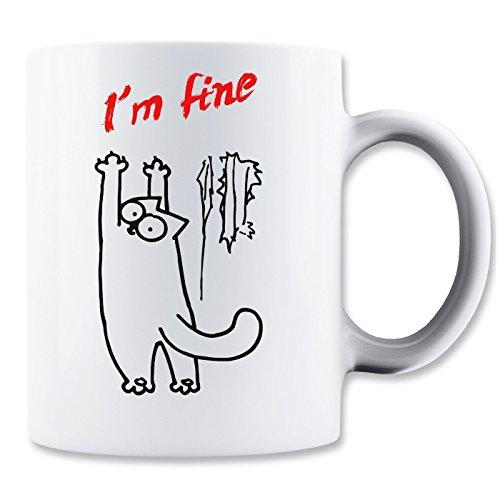 I'm Fine Simons Cat Mug (Rio Blue Tops)