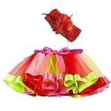 Xmiral Niñas 2Pcs Falda Tutu de Iris Colorido Disfraz Carnaval para Ballet Danza Baile con Diadema de Flor Pettiskirt Costume(Rosa,6-10 años)