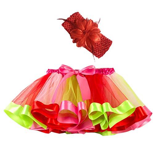 Lazzboy Mädchen Kinder Tutu Party Dance Ballett Kleinkind Baby Kostüm Rock + Stirnband Set Tüllrock Regenbogen Tütü Ballettrock(Rosa,M)