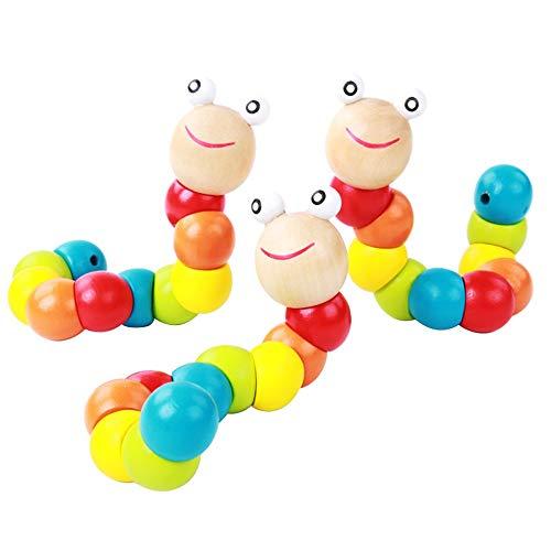 Kollektives Partyspiel 3 stück Lernen & Bildung Kinder Spielzeug DIY Baby Kind Poliert Bunte Raupe Holzspielzeug Infant Pädagogisches Weihnachten GiftToy, Pädagogisches Spielzeug G