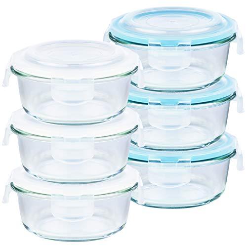 Grizzly Frischhaltedosen Glas 6 Stück Set rund 620 ml Vorratsdosen mit Deckel