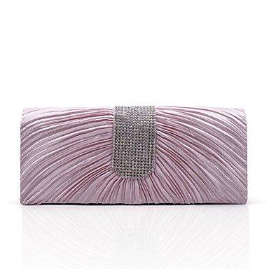 pwne L.West Women Elegant High-Grade Diamonds Ruffles Evening Bag Blushing Pink