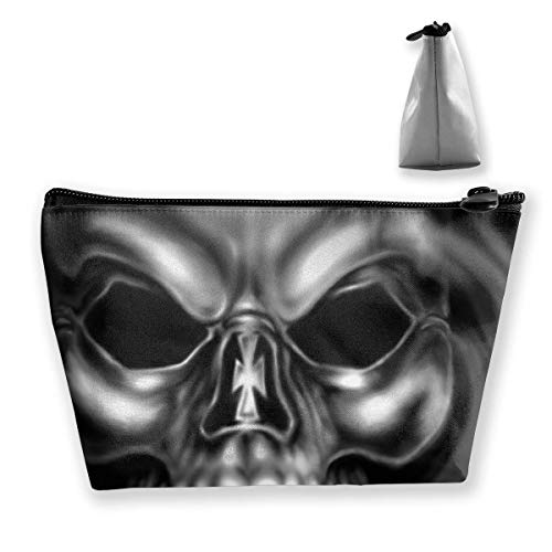 Makeup Bag Cosmetic Skull Gray Smoke Portable Cosmetic Bag Mobile Trapezoidal Storage Bag Travel Bags with Zipper - Tan Satteltasche