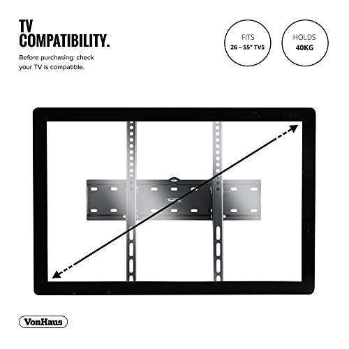 "41QKF2brUqL - VonHaus Soporte de Pared para TV de 26""-55"" Inclinable, Peso Máx. 40kg Super Fuerte, VESA Máx. 400x400, para Televisores Pantalla Plana/LED/LCD/Plasma/Curvada/3D"