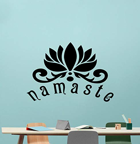 WWYJN Wall Decal Lotus Flower Pattern Decor Quotes Namaste Vinyl Wall Stickers for Yoga Studio Logo Art Mural Removable  84x57cm - Korsika-boot