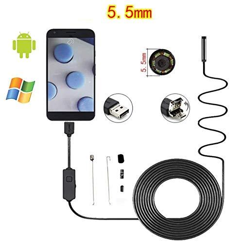 BFZJ industry 5,5 mm 6LED IP67 Endoscop-Kamera, 3,0 Megapixel-wasserdichte Kamera, für Android-Smartphone und Computer, weicher Draht/Harte LLine (1m 2m 3m 5m) (Farbe : Soft line, größe : 1m)