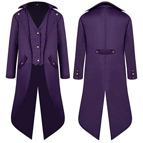 ZHANSANFM Herren Smoking Jacke Steampunk Gothic Jacke Uniform Mittelalter Kleidung Weste Coat Waistcoat Mode Einfarbig Vintage Viktorianischen Langer festlich Cosplay Party Kostüm (L, Lila)