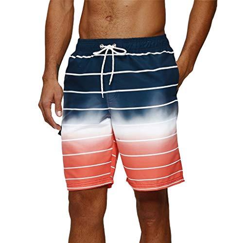 Arcweg Homme Shorts de Bain Mi-Long Séchage Rapide Bermuda de Plage S-3XL Respirant avec Cordon Réglable pour Surf Sport Natation Casual Loisir Rouge à Rayure L[EU]/XL[L'étiquette]