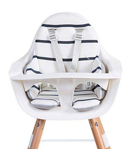 Childhome- EVOLU Sitzkissen Für Baby Hochstuhl Marine Look, 60 x 55 x 2 cm, Weiß (Stoffe Stühle Maßgeschneiderte)