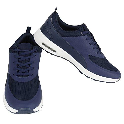 Stiefelparadies Damen Sportschuhe Runners Sneakers Laufschuhe Fitness Trendfarben Sportliche Schnürer Flandell Dunkelblau Weiß