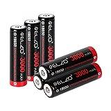 ELZO Batteria Ricaricabile Li-Ion 18650 3,7 V, Pila Ricaricabile 3000 mAh con Capacità di Alimentazione Grande per Torcia o Lampada Frontale, Confezione da 6 Pezzi