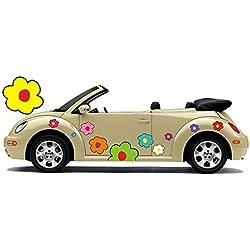 Pegatina de automóvil hippie flores amores y paz Plower Power Hippie 028 (26)