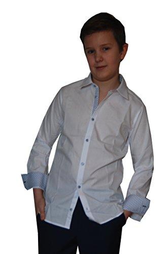 Jungs Hemd zum Kommunionanzug, Oberhemd aus Baumwolle, weiß, Gr. Slim 164