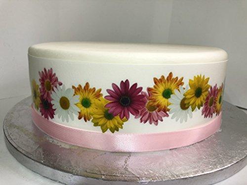 Essbare Kuchendekoration für große Kuchen und Torten, Motiv: Gerbera/Gänseblümchen, Blumendesign, Randverzierung mit Schleife, perfekt zur Dekoration Ihrer Kuchen und Torten, einfache Handhabung