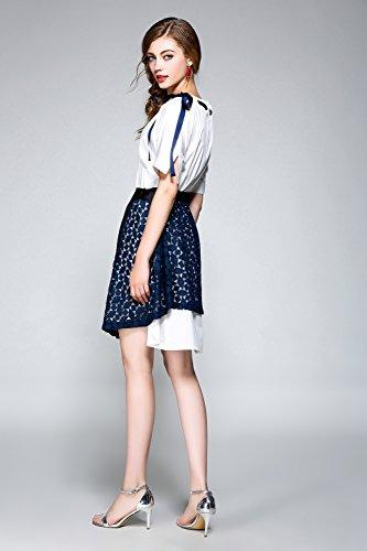 Damen Süße Zwei-Stück Set Kleid Blau