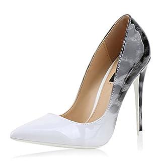 Damen Schuhe Spitze Pumps High Heels Stilettos Lack Prints Party Weiss White 38