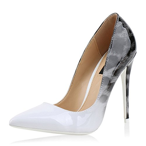 Damen Schuhe Spitze Pumps High Heels Stilettos Lack Prints Party Weiss White 38