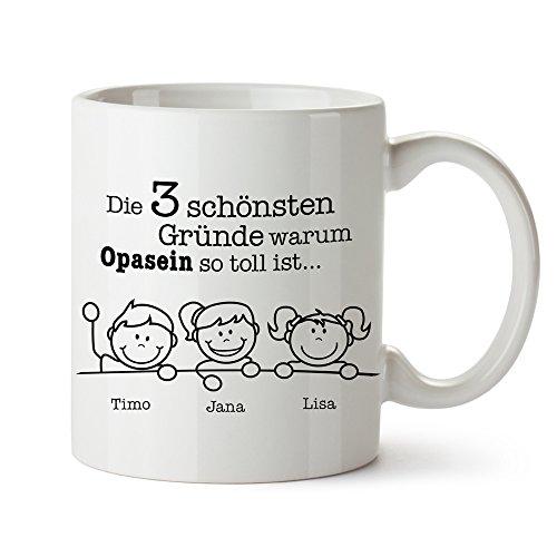 Casa Vivente Kaffeetasse - Gute Gründe Opa - Personalisiert mit Namen - Geschenke für Opas - Geschenkideen für Opa