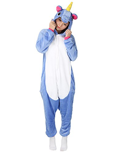 Pferd Kostüm Beste (Tier Karton Kostüm Einhorn PyjamaTierkostüme Jumpsuit Erwachsene Schlafanzug Unisex Cosplay (L(Höhe162-175CM), Dunkelblau)