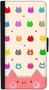 Snoogg Cute Kitty Icons Graphic Snap On Hard Back Leather + Pc Flip Cover Htc...
