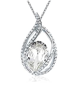 Celebrity Jewellery Clear Austrian Crystal Water Drop Pendant with Shining Rhinestone Necklace