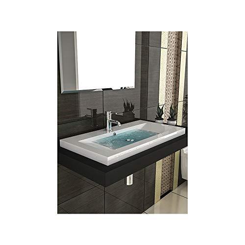 Gäste WC Waschtisch Eckiges Aufsatz Waschbecken aus Mineralguss / 90 cm Breite Handwaschbecken mit Überlauf
