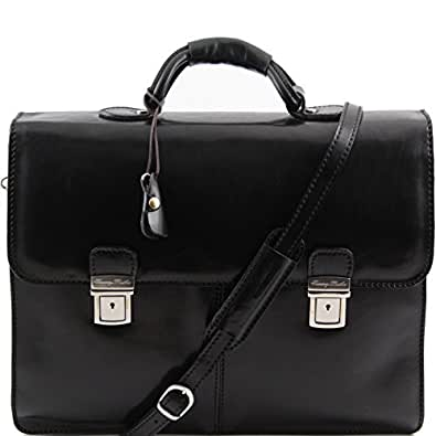 81411444 - TUSCANY LEATHER: Bolgheri Leather Briefcase / Messenger Bag, black