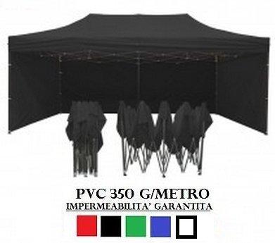 Gazebo pieghevole 3x6 nero acciaio + 4 teli laterali pvc 350 g metro