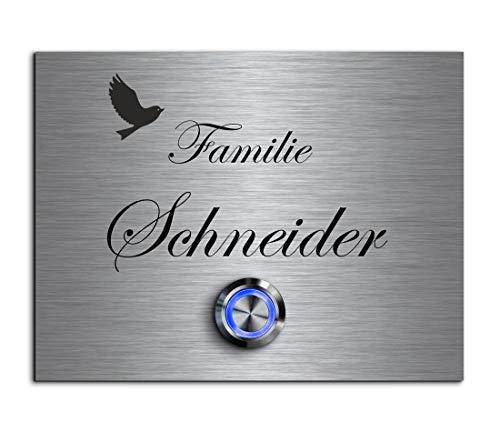 CHRISCK design - Edelstahl Türklingel mit Wunsch-Gravur Led-Beleuchtung und Motive 13x10 cm Klingel-Taster Namen Modell: Schneider Edelstahl 13