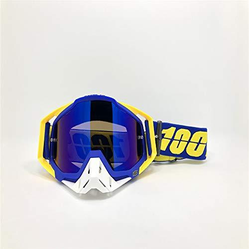 Motorradschutzbrillen, die das blaue Weiß der Schutzbrillen des nicht für den Straßenverkehr geeigneten Sturzhelms laufen