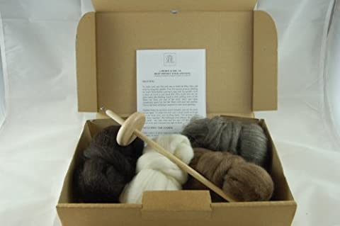 Hand wool spinning starter kit - includes drop spindle, instructions