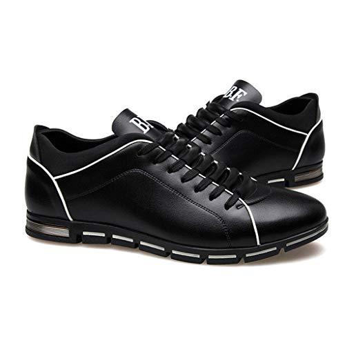 Beikoard-scarpa scarpe sportive uomo elegante casual da uomo business in pelle tinta unita con punta arrotondata(nero,44)