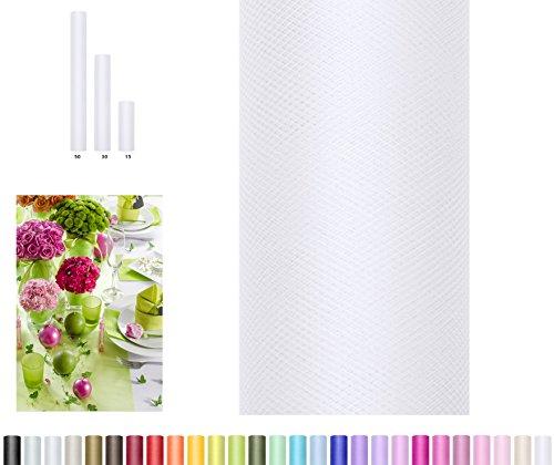 zeit Tisch Geschenk Verpackung 9 m auf einer Rolle 30 cm breit (weiß) (Weiß Tüll)