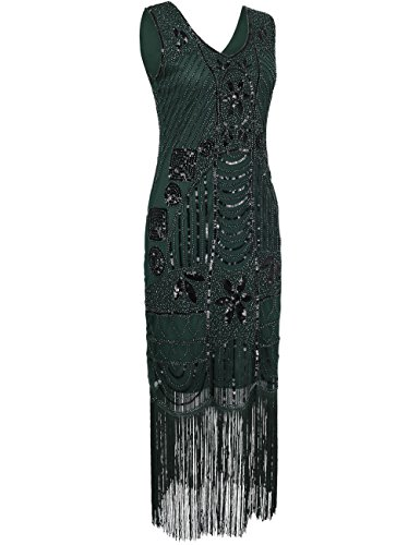PrettyGuide Damen 1920er Gatsby Pailletten Art Deco Fransen Cocktail Flapper Kleid Grüne
