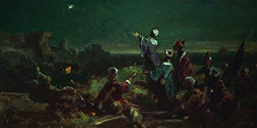 Artland Qualitätsbilder I Bild auf Leinwand Leinwandbilder Wandbilder 100 x 50 cm Fantasy Mythologie Religion Christentum Malerei Blau B4KY der Stern von Bethlehem