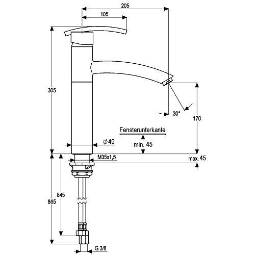 Low-Pressure Single-Lever Mixer Tap in Stainless Steel Look Matt Dashboard Athena Window Fitting/Fitting/Heinrich-Schulte/Water Tap/Single-Lever - Mixer