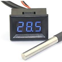 """DROK® 0.36"""" LED -55-125¡æ Term¨®metro Digital Interior / Medida de Temperatura al Aire Libre con Sensor de Temperatura S18b20 Cable de 3 Metros"""
