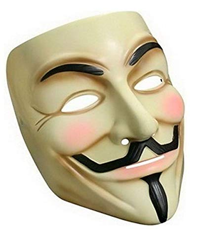 Maske V for Vendetta Anonymus Guy Fawkes Mask Creme