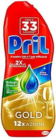 Pril Gold Gel lavastoviglie Sciogli Grasso, Detersivo lavastoviglie con sgrassatore attivo, 33 lavaggi, 600 ml