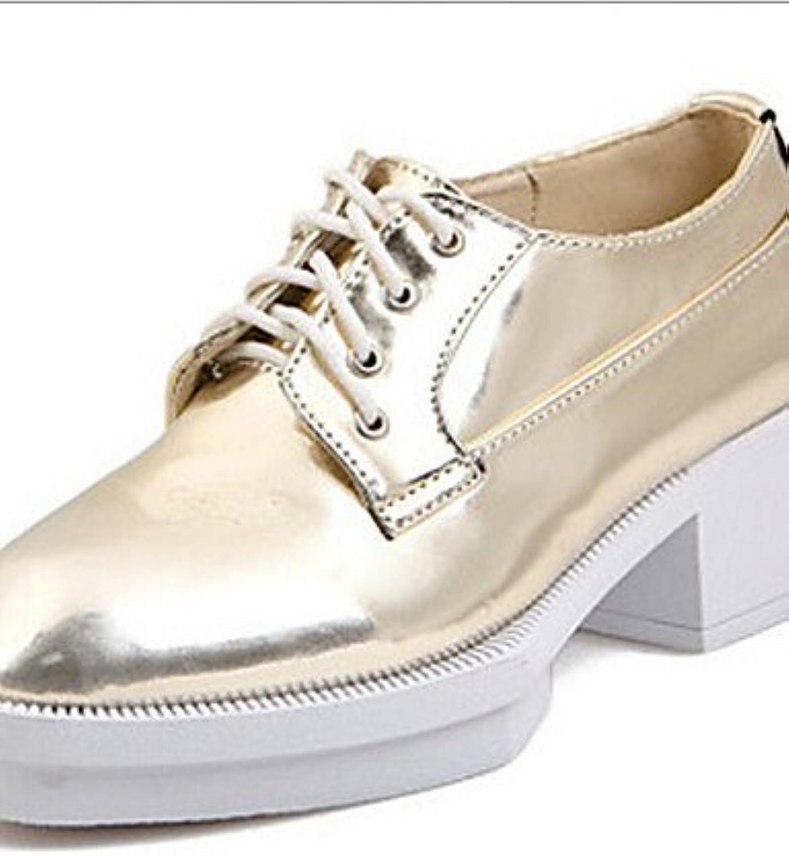 ZQ Zapatos de mujer - Plataforma - Punta Redonda - Oxfords - Casual - Semicuero - Plata / Oro , golden-us8 / eu39...