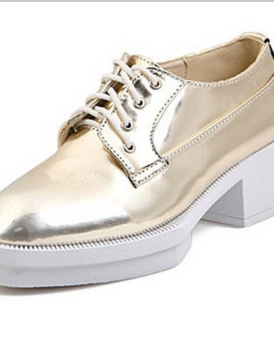ZQ Scarpe Donna - Stringate - Casual - Punta arrotondata - Plateau - Finta pelle - Argento / Dorato , golden-us8 / eu39 / uk6 / cn39 , golden-us8 / eu39 / uk6 / cn39 golden-us6.5-7 / eu37 / uk4.5-5 / cn37