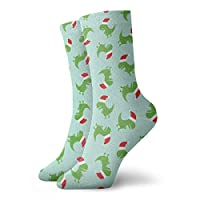 Christmas Trex Santa Hat Dinosaur Toss Mint Socks Running Sport Tube Sock Athletic Crew Socks Soccer Sock 30cm