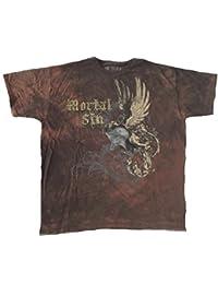 SKULL - Mortal Sin - Helmet Wings - brown batik - T-Shirt - Größe Size XL