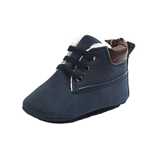 Saingace Baby Toddler Soft Sole Scrub Leather Shoes Infant Boy Girl Toddler Shoes (Age 12~18M, Dark Blue)