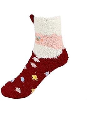 [Patrocinado]ZODOF Calcetines Lindos De Lana De Navidad Calcetines De Navidad De Dibujos Animados NiñO CalcetíN De Terciopelo...